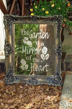 garden signs, heart, yard, garden art, framed mirrors, gardens, vintage frames, garden idea, quot