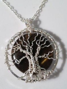 Tigers Eye Hand Wire Wrapped Tree of Life Pendant