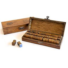 Alphabet and Numbers Wooden Stamp Set - for stamping messages onto gift wrap or gift tags.