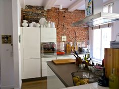 house tours, brick wall, expos brick, amsterdam hous, bricks, kitchen, exposed brick, apartments, homes