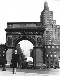 A Visting Nurse Service of New York nurse walking by Washington Square in April 1948.