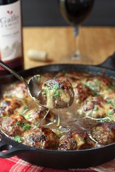 "French Onion Soup au Gratin Stuffed Meatballs - caramelized onions and gooey cheese stuffed into meatballs for a true ""man meal"" 