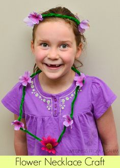 Flower Necklace Craft for Kids - easy & great for dress-up fun #crafts #kids - with musingsfromasahm.com