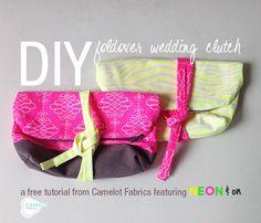 Free Projects | #DIY Foldover Wedding #Clutch | #Neon & On by @Jackie Godbold Godbold McFee for Camelot Fabrics