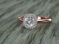 Double Diamond Halo Cushion Cut Ring in Rose Gold