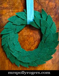 Make an Upcycled Coat Wreath (or make with any wool) Tutorial.  ST PATTY'S DAY.  Blog Instructions & Video from MrsPollyRogers.com