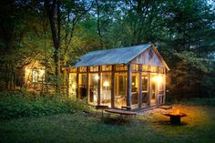 Glass walls give you a panoramic view! Candlewood Cabins is a unique getaway retreat hidden in the beautiful hills of southwest Wisconsin's Ocooch Mountains.