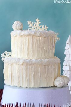 Snowflake Chocolate Cake by 1 Fine Cookie, snow, covered, cake, coconut, icicles, sugar, isomalt, winter, wonderland, white, snowflake, glit...