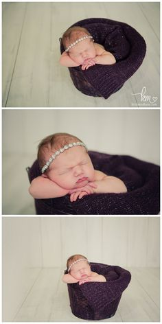 silver and purple newborn picture - baby in a basket