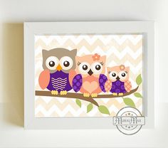 Nursery Art  Owl Print for Nursery Baby Girl Owl by MuralMAX, $20.00