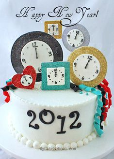 New Years Cake cake tutorial, year cake, clock, alice in wonderland, wedding cakes, decor cake, new years eve, paper toys, parti