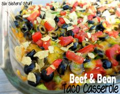 Beef and Bean Taco Casserole- all the goodness of a taco in an easy to make casserole! SixSistersStuff.com #recipe #casserole #taco