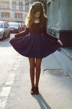 navy button skirt