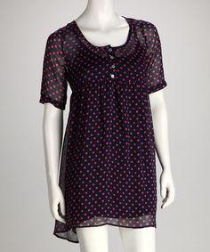Navy and Peach polka dot dress
