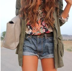 Cargo jacket with floral shirt