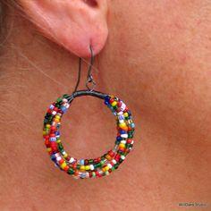 Beaded hoop earrings.