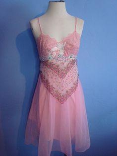 Upcycled pink applique tutu slip dress