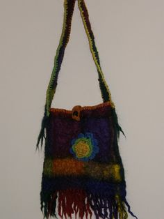 Real Hippie looking Felted shoulder bag , crocheted edging, rainbow color