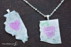 DIY map necklace pendant using ModPodge #DimensionalMagic | instructions and free #printable on CherylStyle.com
