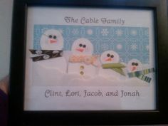 snowman family photo - with scrapbooking paper or with white glove fingers, felt, etc.