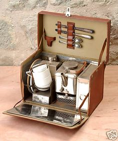 Vintage tea and picnic set. I totally want one of these!