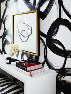 interior design, graphic, pattern, circl, white walls, art, wall treatments, black white, painted walls