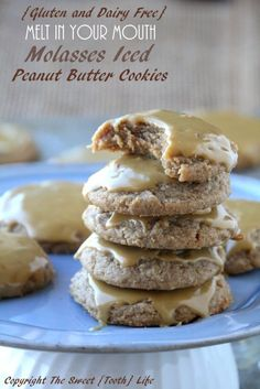 {Gluten and Dairy Free} Melt In Your Mouth Molasses Iced Peanut Butter Cookies