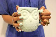 Stud mani + West Elm owl mug