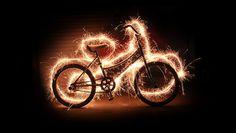 Lightpainting bike sparkler