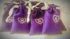 Personalized Initial (or number) Heart Favor Bag Pouch for Wedding, Birthday, Bridal Shower, Parties