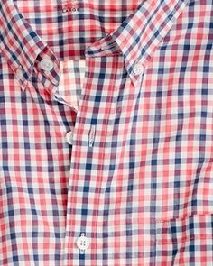 J Crew lightweight shirts are comfy smart casual shirts any man can wear. Here is halyard check torch red and it looks great.