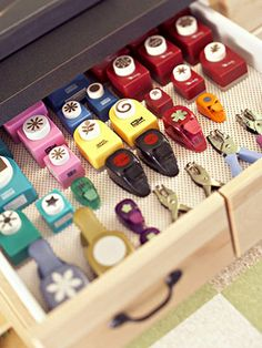 Secure Scrapbooking Supplies on Drawer Liners    To prevent craft supplies from rolling around in drawers, use low-cost, nonslip drawer liners in your tool station drawers. This trick is perfect for storing stamps, die cuts, and punches.