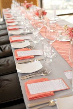 Tablescape of the modern peach/grey variety.  Photography by elizabethscottphotography.com, Event Planning by sweetnovemberevents.com, Floral Design by partyblooms.com