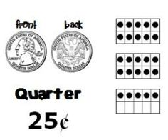 Coin Identification and Value Activity Cards with Ten-Frames.  Also in a version with Canadian coins. :) Activity cards showing coin pictures (front and back to scale), name, value, and a ten-frame representation of value.    Set contains--  -Teacher notes  -Coin cards: 2 quarter cards, 6 dime cards, 8 nickel cards, 14 penny cards  -Piggy Bank cards showing various amounts for the students to make  -Workstation activity cards with math journal suggestions
