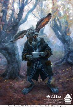 rabbit, concept art, alice in wonderland, character concept, march hare, character design, tim burton, tea, aliceinwonderland
