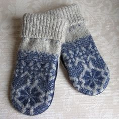 upcycled felted wool mittens.  trying this soon, it is cold outside!