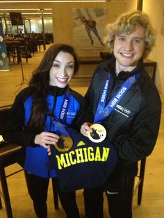 Even Olympic champions like to show off theirUniversity of Michigancolors!