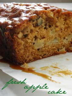 fresh apple cake with brown sugar glaze by awhiskandaspoon