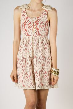 lace dress with coral slip