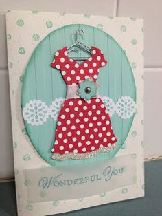 cute card Linda Higgins linda higgin, card idea, pool parties, polka dots, dressup, the dress, dress up, cards diy, stampin up cards