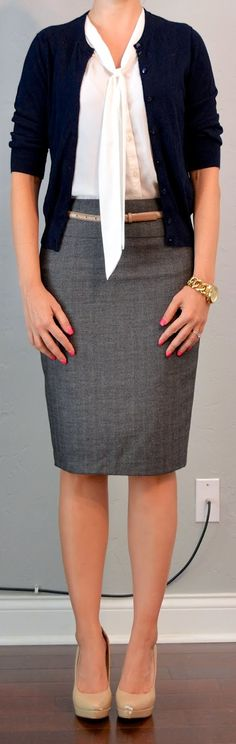 Outfit Posts: outfit post: grey pencil skirt, navy cardigan, white tie blouse http://outfitposts.blogspot.com
