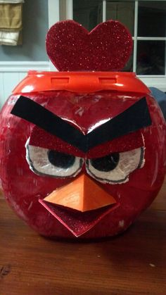 Angry Bird valentine box from a tide pod container!