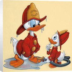 walt disney, fire stuff, firefight stuff, disneyoth cartoon, donald duck art, art prints, ducks, disney cartoons, duck firefight