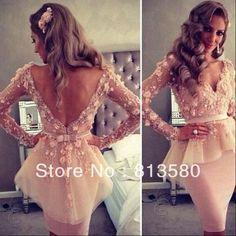 Long Sleeves Pink V-Neck Sheath Short Evening Dress from Fashionbequeenfav #MillionDollarShoppersAndrea