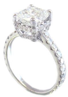 18k white gold cushion cut diamond engagement ring art by KNRINC, $8615.00