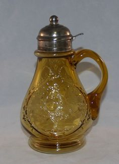 ANTIQUE VICTORIAN EAPG ART PATTERN GLASS AMBER SYRUP PITCHER ROBIN IN TREE BIRD
