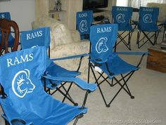OMG I love this idea. Tempted to try this for our football coaches. Stenciled Sports Chairs...gifts for coaches or team parents!