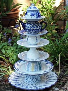 Garden Whimsies by Mary-haul out that old china, girls.  THIS is cool! teapot, garden whimsi, garden whimsy, garden ideas, blue, bird feeders, fountain, flea markets, old china
