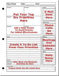 Printable Daily Planner   The Top-Six Strategy for Success