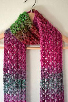 Free Crochet Scarf Pattern. Love the yarn.